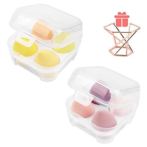8 piezas de batidora de belleza, juego de esponja de maquillaje con soporte, esponjas de belleza para maquillaje, esponjas de maquillaje para mezclar, 6,6 x 4,6 cm con estuche de huevo y 1 soporte (B)