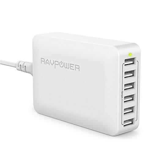 RAVPower USB Ladegerät 6-Port 60W USB Ladestation Mehrfach mit iSmart Technologie für iPhone 11 Pro Max XS Max XR X 8 7 6 Plus, iPad, Galaxy S9 S8 Plus, LG, Huawei, HTC, Smartphones, Tablets, MP3 usw