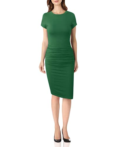 Missufe Women's Short Sleeve Ruched Casual Sundress Midi Bodycon T Shirt Dress (Dark Green, X-Small)