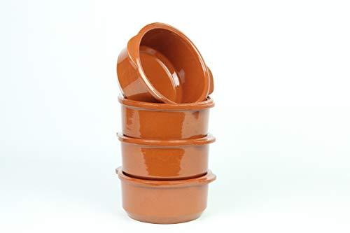 Cuencos de barro para sopa con asas.4 unidades. Medidas 16cm con asas y 13,6cm diámetro exteriores x 12,2 cm altura.Hecho en España.