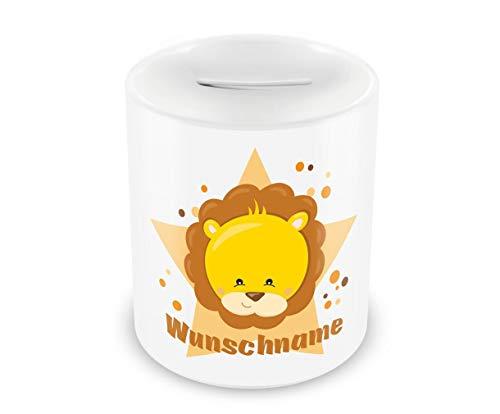 Samunshi® Kinder Spardose mit Namen und süßem Löwen als Motiv für Kinder - Jungen und Mädchen Sparschwein
