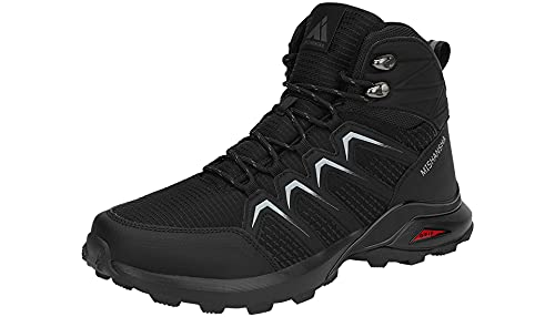 Mishansha Zapatillas Senderismo Hombre Trail Mount Botas Montaña Zapatos Trekking Escalada Deportes de Exterior, Tono Negro 43 EU