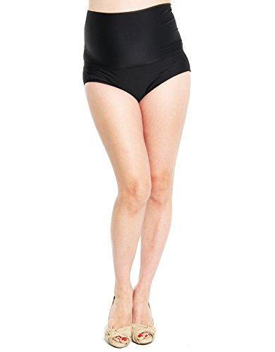 Oceanlily Over The Belly Maternity Swimwear Bottoms-High Waist Cover Up-Women Bikini Bottom Black L