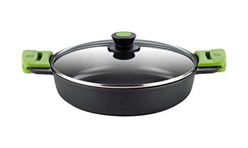 Bra A400536 Prior Cacerola baja con tapa de cristal y asas de silicona, apta para todo tipo de cocinas incluida inducción y horno, 36 cm
