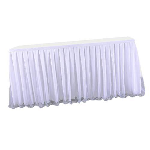 joyMerit Tischröcke Tischdecke aus Tüll Weiß Tischrock Für Baby Shower, Hochzeit, 2Yards / 3Yards zur Auswahl - 2 Yards