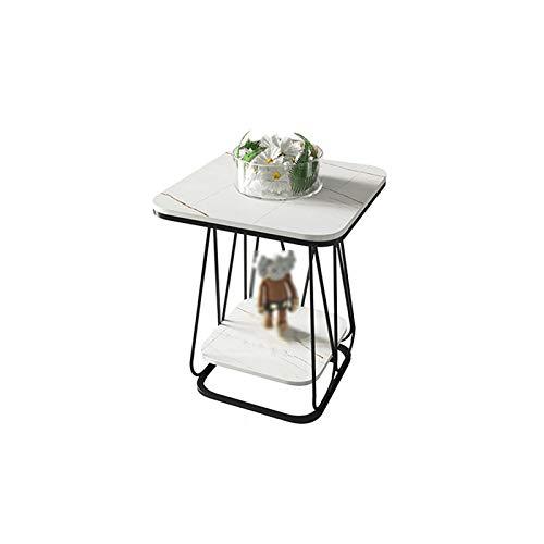 Living Room Furniture YAQ-Muebles de Oficina Decorar la Mesa de café, 2 Niveles de mármol Magazine Rack Sala Oficina Tienda de Ropa del sofá del Hotel Mesita, 50 * 50 * 60cm Mesas de Pedestal