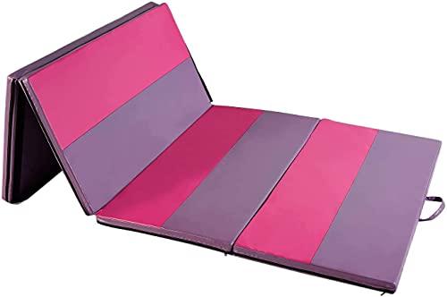 ZENOVA Gymnastics Mats 4'x8'x2 Tumbling Mat Gym Exercise Mat for Home Aerobics Workout Fitness Floor Mats (2 Pink, 4x8ft)