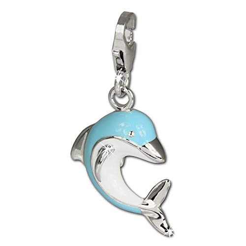 SilberDream Charm 925 Echt Silber Armband Anhänger blau weiß Delfin FC654