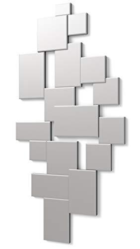 DekoArte E003 - Espejos Decorativos Modernos De Pared | Espejos Decoración para Tu Salón Dormitorio, Entrada, Recibidor | Espejos Sofisticados Grandes Rectangular Color Plata | 1 Pieza 140 x 70 cm