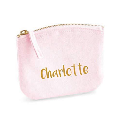Schminktasche für Mädchen | personalisiert mit Namensdruck | kleine Kosmetiktasche für Kinder inkl. Name | Make-up Täschchen mit Reißverschluss | Abmessungen: 14,5cm x 11cm (rosa)