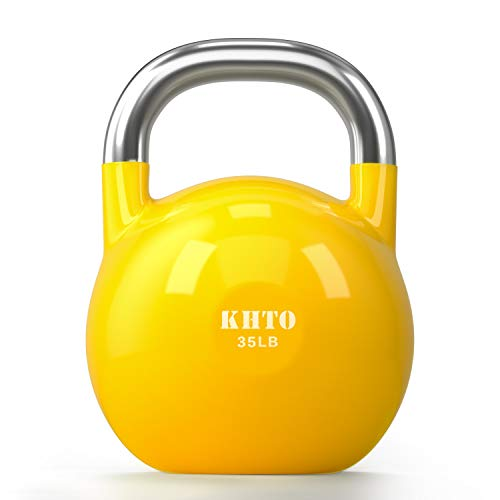 KHTO Kettle Bells – Competition Kettlebell 35 LB – Professional Grade Kettlebell for Fitness, Weightlifting, Core Training – Durable and Strong Design – 10-50 LB Color-Coded Collection