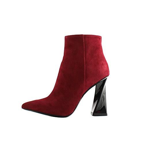 Tiffi laarzen dames suède rood bordeaux met ritssluiting Laterale. Robuuste hak in zwart met 10 cm spiraal gemaakt in Italië.