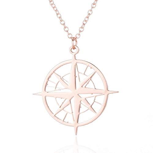 TTDAltd Halskette Vintage Kompass Halskette Antiker Kreis Anhänger & Halskette Frauen Gold Farbe Edelstahl Kompass Schmuck