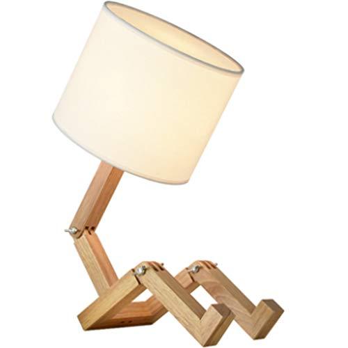 lampara de lectura Nordic lámpara de mesa de madera Personalidad lámpara de escritorio E27 tela ajustable se puede utilizar como lámpara de lectura en forma de una librería humana for el dormitorio Lá