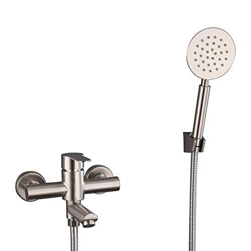 HomeLava Wannenarmatur Badewannenarmatur mit Handbrause Edelstahl gebürstet Einhand-Wannenbatterie Badewanne Wasserhahn Wannenmischer Duscharmatur Wandmontage für Badezimmer