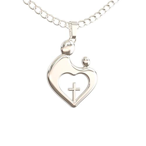 Happy Kisses Godmother Necklace Gift from Godchild – Goddaughter Pendant Jewelry – Gift for Baptism Mother Day Christmas or Birthday (Silver)