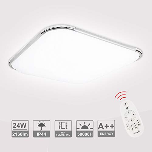 VINGO 24W LED Lámpara de Techo 2160LM luz de la cocina 6500K Regulable con Control Remoto para Baño Dormitorio Cocina Sala de estar Comedor Balcón Pasillo