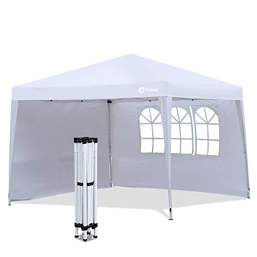Sekey Garten 3x3 m Pavillon 100% Wasserdicht/Faltpavillon/Gartenpavillon/Gartenlauben/Party-Und Festzelt, für Garten/Party/Hochzeit, mit 2 Seitenwänden, Weiß