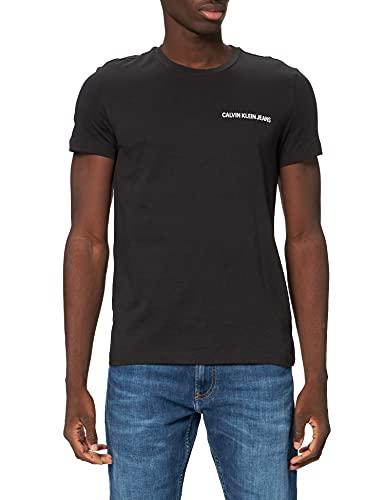 Calvin Klein Jeans Męski t-shirt Chest Institutional Slim Ss Tee, czarny (CK Black 099), L