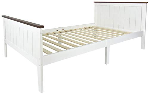 Leomark Modern bed van hout en elegant voor volwassenen lattenbodem 200 x 90 cm wit Parijs Walnut