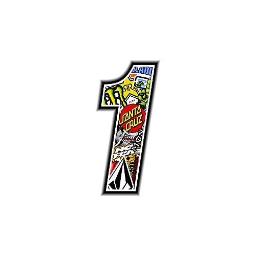 4R Quattroerre.it 13351 Número 1 Sticker Bomb, 10 x 10 cm, Multicolor