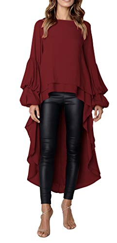PRETTYGARDEN Women's Lantern Long Sleeve Round Neck High Low Asymmetrical Irregular Hem Casual Tops Blouse Shirt Dress (Wine Red, Large)