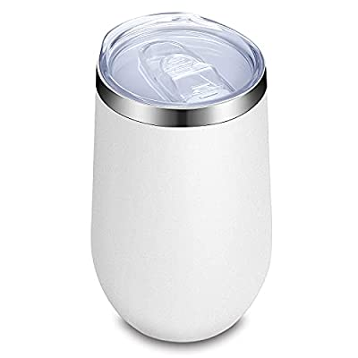 Zenbo 16oz Insulated Wine Tumbler with Lid, Double Wall Stainless Steel Stemless Wine Glass,Travel Wine Glass Wine cup
