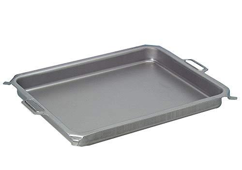 BSR-Grillen Stahlpfanne, Grillpfanne, Stahlblech-Pfanne, ca. 475 x 515 mm, 60 mm tief, für 2-flammigen Gasgrill