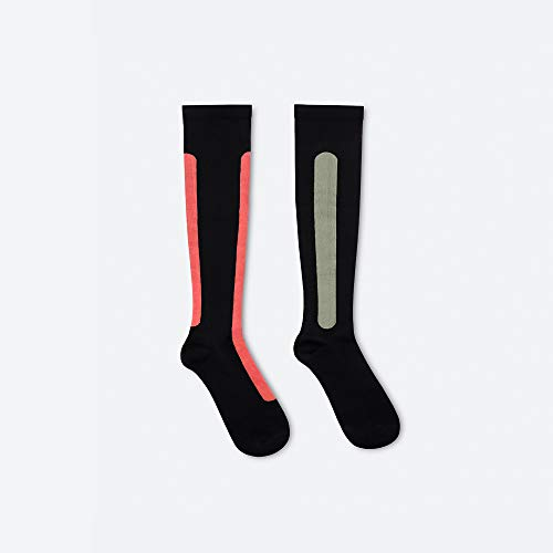 Ostrichpillow Bamboo Compression Socks for Women & Men, for Travelling, Sports, Working, Knee high Circulation (Small / Medium, Sunset Red / Olive Green)