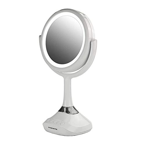 Ovente Lighted Vanity Mirror, Table Top, 360 Degree Spinning 6'' Double Sided Circle LED 1X 5X Magnifier with MP3 Audio, Wireless Speaker, Rechargeable, USB Operated, White MRT06W1X5X