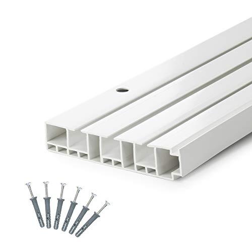 DQ-PP] 240cm (1 x 150 cm + 1 x 90 cm + Verbinder) Gardinenschienen PVC 3 - läufig Innenlaufschienen Deckenschiene
