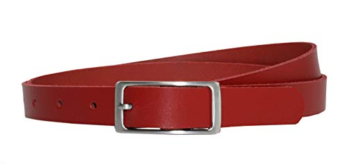 Vascavi Ledergürtel 100% echt Leder, 2 cm breit und ca. 0.25 cm stark, Gürtel, Hüftgürtel, Jeansgürtel, Made in Germany (100 cm Gesamtlänge 110 cm, Rot)