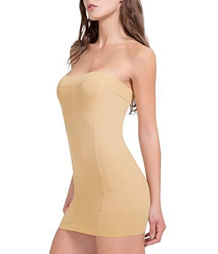 COMFREE Miederkleid Bauch Weg Stark Formend Unterkleid Shapewear Trägerloses Bodyformer Damen Kleid Body Shaper Beige L