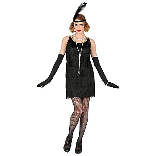 Widmann 53174 - kostium dla dorosłych z lat 20. Charleston Flapper, sukienka z frędzlami, opaska na czoło z piórami, impreza tematyczna, karnawał