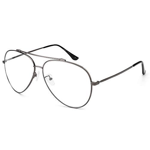 Cyxus Aviator Glasses Stylish Blue Light Blocking Eyeglasses Computer Eyewear Anti Eyestrain Metal Frame Clear Lens Silver