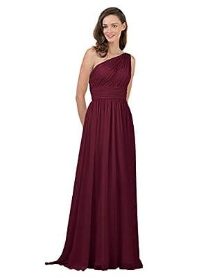 Alicepub Burgundy Bridesmaid Dresses Chiffon Long Maxi Formal Party Dress for Women One Shoulder, US16
