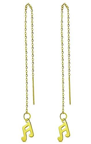 Tata Gisèle - Pendientes de acero inoxidable dorado – Cadena colgante con nota de música