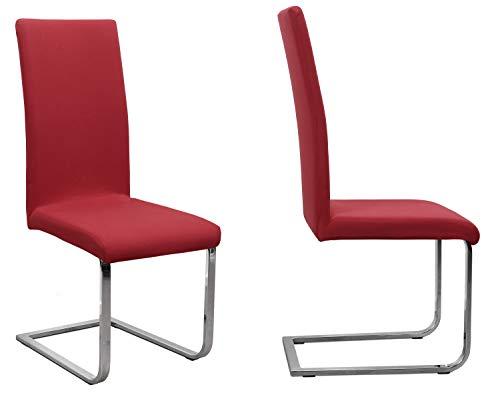 BEAUTEX 2er Set Jersey Stuhlhusse (Farbe wählbar), elastische Uni Stretch-Husse aus Baumwolle Bi-Elastisch (Bordeaux)