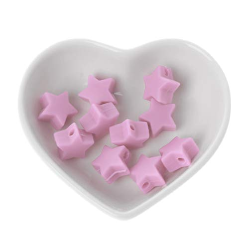 JIUYECAO Cuentas molares de silicona de 15 mm, polvo de bebé, 10 cuentas de silicona de estrella, cuentas de dentición de bebé, cadena de chupete para bebé