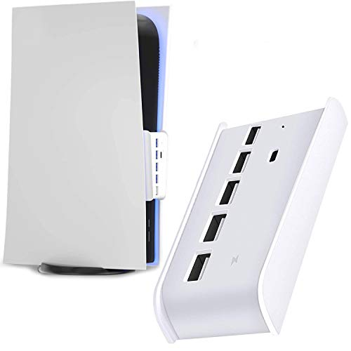 PS5 USB hub, 5 Port USB Hub for PS5, High-Speed Expansion Hub Charger Splitter Adapter with 4 USB + 1 USB Charging Port + 1 Type C Port, Compatible with Playstation 5 Game Console.(white)