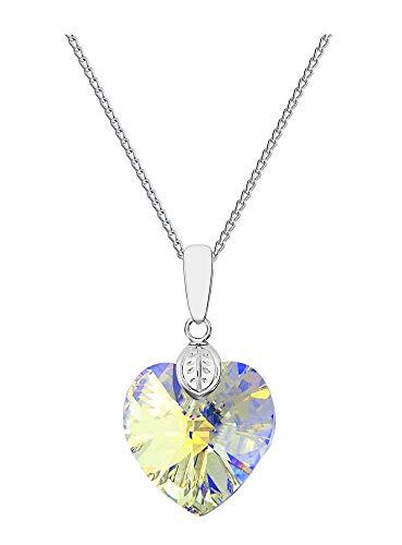 Crystals&Stones **Herz** 18 mm *Crystal AB* mit Silberkette aus 925 Silber mit original Swarovski® Elements Anhänger,Halskette mit Schmucketui, ideal als Geschenk für Frau oder Freundin