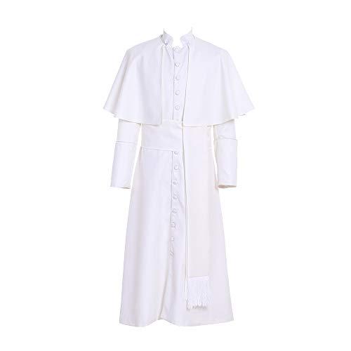 Roman White/Black Priest Cassock Robe Gown Clergyman Vestments...