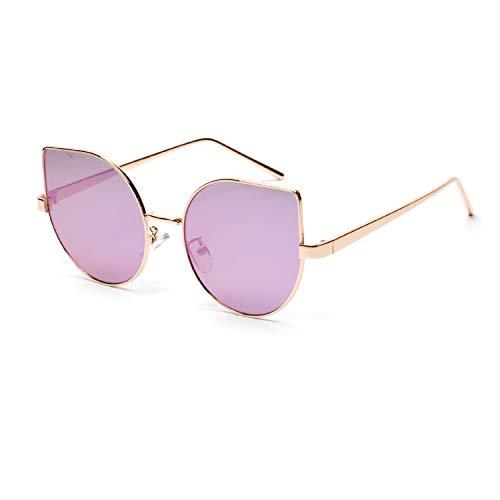 Gafas de Sol de Ojo de Gato Redondas moradas Grandes a la Moda para Mujer, Gafas de Metal polarizadas al Aire Libre Uv400, Doradas para Mujer