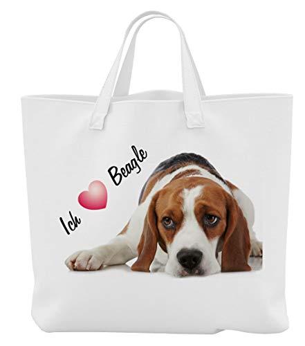 Merchandise for Fans Einkaufstasche - 45 x 42 cm x 9,5 cm, 18 Liter - Motiv: Beagle Porträt mit Spruch Ich Liebe Beagle [ 12 ]