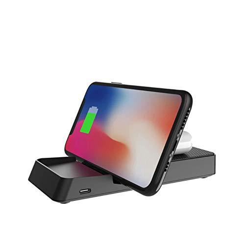 Cargador inalámbrico 3 en 1 Qi, carga inalámbrica Dock Station, cargador compatible con smartphone USB de tipo C, carga rápida de 10 W, compatible con smartphones inteligentes