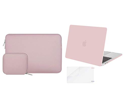 MOSISO Plastic Hard Shell Case & Laptop Neoprene Sleeve & Screen Protector, Compatible with MacBook Pro 15 inch 2019 2018 2017 2016 Release A1990 A1707 Touch Bar, Rose Quartz