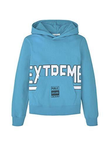 TOM TAILOR Jungen Strick & Sweatshirts Hoodie mit Schrift-Print Algiers Blue Cyan,140,K3072,6000