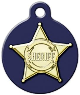 Dog Tag Art Sheriff Badge Graphic - Custom Pet ID Tag for Dogs and Cats