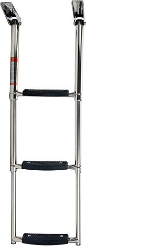 Amarine Made 3 Step Ladder Boat Boarding Ladder Stainless Steel Telescoping Boarding Swim Step Ladder with Retaining Strap for Marine Yacht Swimming Pool 900 lbs. Capacity