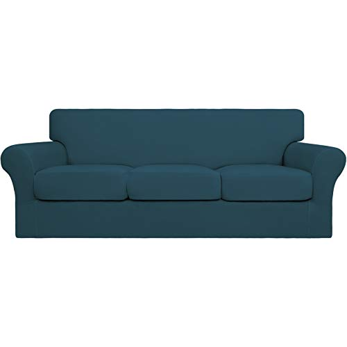 Easy-Going 4 fundas de sofá elásticas suaves para perros – Funda de sofá lavable para 3 cojines separados – Protector de muebles elástico para mascotas, niños (sofá, verde azulado)